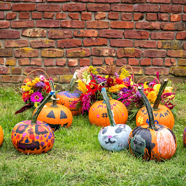 Harvest Festival in Ticonderoga by Debbie Quick - Public Holidays Halloween ( harvest, flowers, debbie quick, nature, adirondacks, brick wall, festival, outdoor photography, debs creative images, new york, pumpkins, fall, outdoors, ticonderoga, harvest festival, brick )