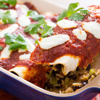 Enchiladas Rojas with Nopales & Black Beans