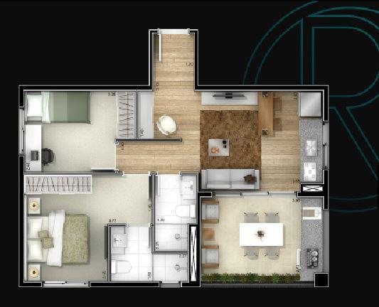 Planta 56,9 m²