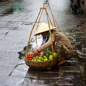 Vietnamese Fruit Seller by Venetia Featherstone-Witty - City,  Street & Park  Markets & Shops ( street vendor, market vendor, vietnam, vietnamese fruit seller )