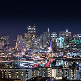 San Francisco from Portero Hill by Julio Gonzalez - City,  Street & Park  Skylines ( san ftrancisco, 5d mark 4, 280 highway, night shot, portero hill )