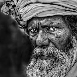A Man by Sanjit Chowdhury - Black & White Portraits & People