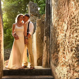 Backlit ruins by Andrew Morgan - Wedding Bride & Groom ( wedding zanzibar love kiss weddingday )