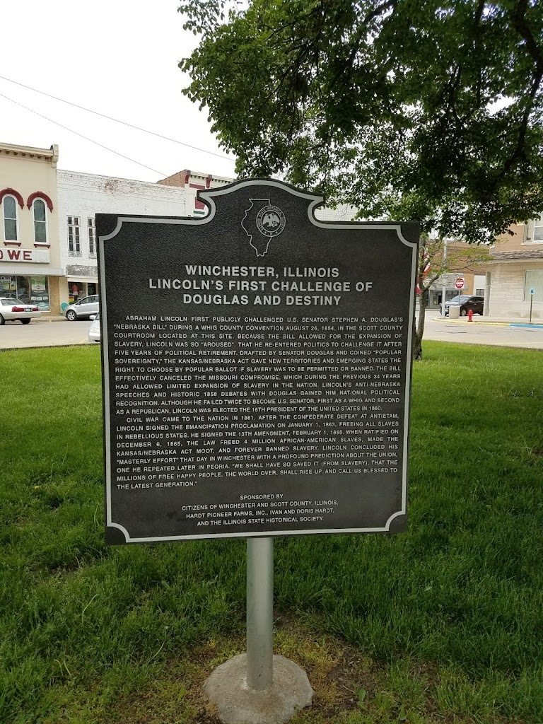 WINCHESTER, ILLINOIS LINCOLN'S FIRST CHALLENGE OF DOUGLAS AND DESTINY  ABRAHAM LINCOLN FIRST PUBLICLY CHALLENGED U.S. SENATOR STEPHEN A. DOUGLAS'S