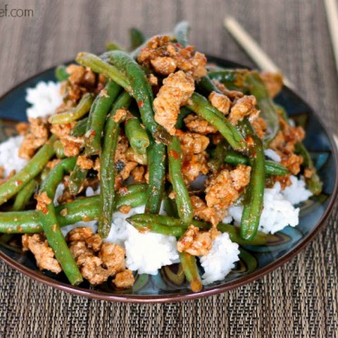 Chinese Green Beans with Ground Turkey over Rice