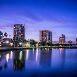 Feeling Blue by Hamish Carpenter - Buildings & Architecture Public & Historical ( skyline, blue, florida, riverfront, st petersburg, buildings, architecture, cityscape, travel, downtown, nightscape )