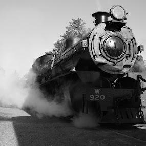 Power by Tony Burnard - Transportation Trains ( b&w, engine, locomotive, rail, steam )