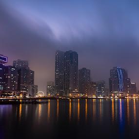 Foggy Evening by Salman Ahmed - City,  Street & Park  Skylines ( clouds, highrise, skyline, towers, fog, weather, cityscape, al majaz, sharjah )