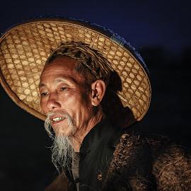 Fisherman by David Long - People Portraits of Men ( fisherman, guilin, china )