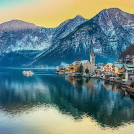 Paradise Sunset by Srdjan Vujmilovic - Landscapes Travel ( water, skyline, mountains, sky, snow, lake, architecture )