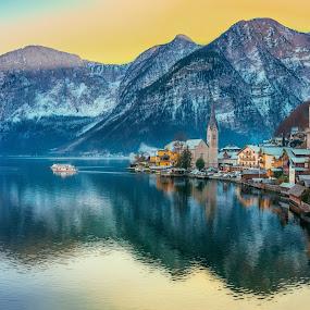 Paradise Sunset by Srdjan Vujmilovic - Landscapes Travel ( water, skyline, mountains, sky, snow, lake, architecture,  )