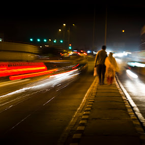 Life goes on... by Rajarshi Mitra - People Couples ( light trails, greenpark, night, couple, people, roads, delhi )