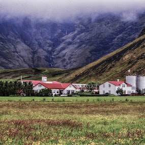 Foot of Volcano by Richard Michael Lingo - Landscapes Prairies, Meadows & Fields ( farm, iceland, volcano, meadows, landscape, fields,  )