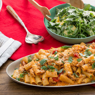 Chicken Bolognese & Rigatoni Pasta with Mascarpone Cheese & Summer Squash-Arugula Salad