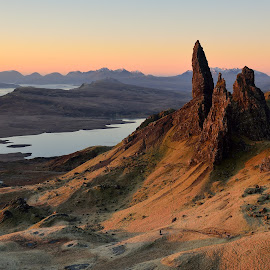 Warm light on an old man by Lucian Constantin - Landscapes Mountains & Hills ( mountains, skye, old man of storr, sunrise, morning, light )