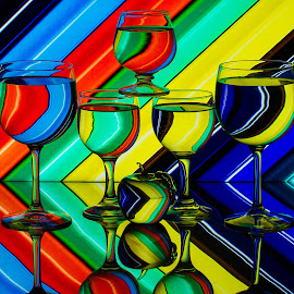 Stripes by Lisa Hendrix - Artistic Objects Other Objects ( water, patterns, brandy glass, artistic reflection, colorful, apple, colors, wine glasses, strpes, stripe )