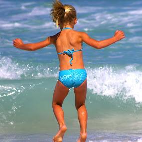 Jump! by Adell du Plessis - Babies & Children Children Candids ( blue, sea, summer, beach, jump )