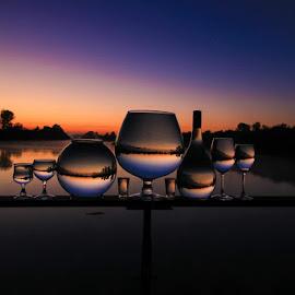 Ballanced by Stefan Klein - Artistic Objects Still Life ( glasses, sunrise, nature, still life, river,  )