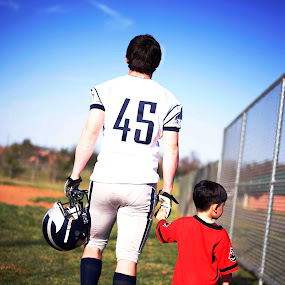 Brothers by Angel Solomon Caracciolo - Babies & Children Child Portraits ( football, teenager, helmet, twmf, toddler, brothers )