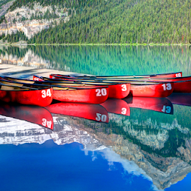 Canoe for Rent by John Larson - Landscapes Waterscapes ( water, mountain, trees, reflections, lake, dock, canoes )