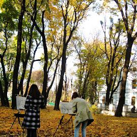 Vdohnovenie by Ирина Саунина - City,  Street & Park  City Parks ( художники, осень,  )
