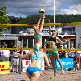 Beach volley by Simo Järvinen - Sports & Fitness Other Sports ( sand, ball, volleyball, outdoor, beach volley, sports, summer, spectators, game, women )