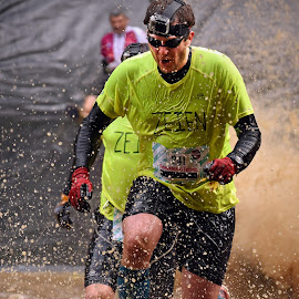 Escape From Splash Zone by Marco Bertamé - Sports & Fitness Other Sports ( water, splatter, splash, differdange, 241, camera, number, yellow, soup, running, luxembourg, muddy, strong, determined, brown, strongmanrun, man )