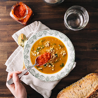 Sweet Potato Soup with Harissa and Greens