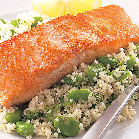 Salmon With Broad Bean Couscous
