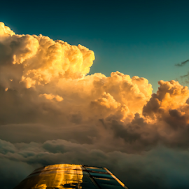 Orange Skies by Myra Brizendine Wilson - Landscapes Cloud Formations ( clouds, clouds from airplane, clouds in blue sky, sunset skies, sunset, sunset in clouds, sunset from plane )