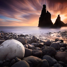 The Rock by Jens Sieckmann - Landscapes Sunsets & Sunrises ( water, clouds, waves, ocean, long exposure, sunrise, rock formation, stones, rocks, coast )