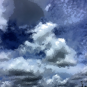 glass cloud by Edward Gold - Digital Art Things ( tree tops, grey cloudes, bear shape cloud, cloudes, dark blue sky, white cloudes, glass effect )