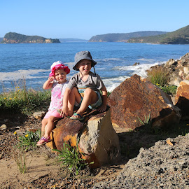 Along The Cliff by Geoffrey Wols - Babies & Children Toddlers ( water, pearl beach, umina beach, children, lion island, kids, rocks )