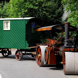 Endeavour by DJ Cockburn - Transportation Other ( spa valley railway, britain, steamroller, ou 9002, vehicle, trailer, kent, wallis & steevens, road roller, construction, antique, steam, endeavour, 8047, historic, heritage, history, transport, transportation, works vehicle, industrial, caravan, vintage, eridge, 2018 summer transport festival, traction engine, machinery )