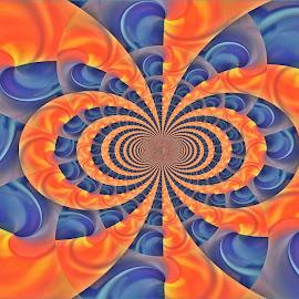 Twirls by Kittie Groenewald - Digital Art Abstract