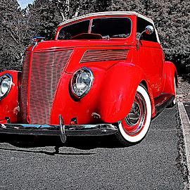 Whitewalls by Jeffrey Lorber - Transportation Automobiles ( red, lorberphoto, @lorberphoto, rust 'n chrome, jeff lorber, jeffreylorber, red car )