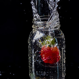 Strawberry Splash by Carol Ward - Food & Drink Fruits & Vegetables ( strawberry water drop, strawberry splash, waterdrop, mason jar, strawberry )
