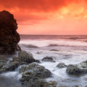 Good Morning by Tyhe Reading - Landscapes Waterscapes ( clouds, colour, water, sky, pentax, motion, rocks, light )