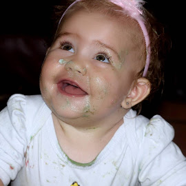Cake Face Cuteness by Zuanè Gagiano - Babies & Children Babies ( child, girl, laugh, innocent, happy, baby girl, innocence, happiness, baby, smile )