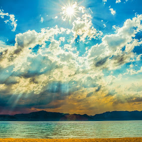 Rays Through the Smokeset by Billy Brooks - Landscapes Sunsets & Sunrises ( sunstar, beach, lake tahoe )