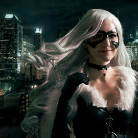 Cat Woman by Joshua Clifford - People Fashion ( cosplay, long hair, city, black, portrait, bell, choker, gloves, white hair, outside, spandex, suit, female, mask,  )