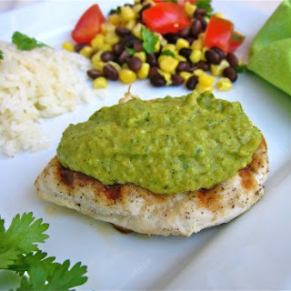 Chicken with Creamy Poblano, Tomatillo, and Avocado Sauce
