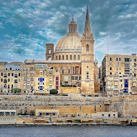 Center of Valletta, Malta by Michaela Firešová - City,  Street & Park  Historic Districts ( city center, historic, valletta, church, windows )