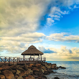 Resting Place by Scott Hryciuk - Landscapes Beaches ( clouds, water, sky, blue, mexico, pacific, ocean, beach, rocks )