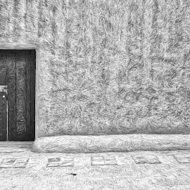 Her Portal by Allen Crenshaw - Digital Art Places ( two doorways, sand, choices, black & white, illustration, adobe )