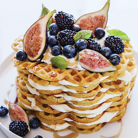 Cardamom Waffle Cake with Figs, Fall Berries, & Maple Syrup