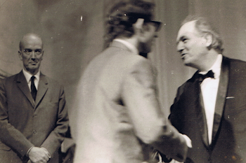 With Olivier Messiaen, receiving my prize at Messiaen Piano Competetion, Royan, 1968