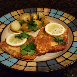 Wienerschnitzel by Michael Villecco - Food & Drink Plated Food ( wienerschnitzel, pork, potatoes, parsley, lemon )