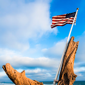 San Clemente Flag by Scott Welch - Artistic Objects Other Objects ( clouds, san clemente, memorial, 9/11, flag, sky, america, 9-11, american flag, petrified, ocean, beach )