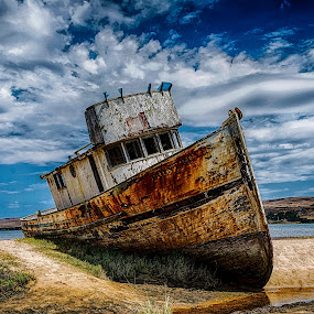 The Pt Reyes before the fire by Craig Turner - Transportation Boats ( beached, ca, boat, pt reyes, abandoned )